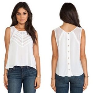 Free People White Shell Shock Button Back Top S